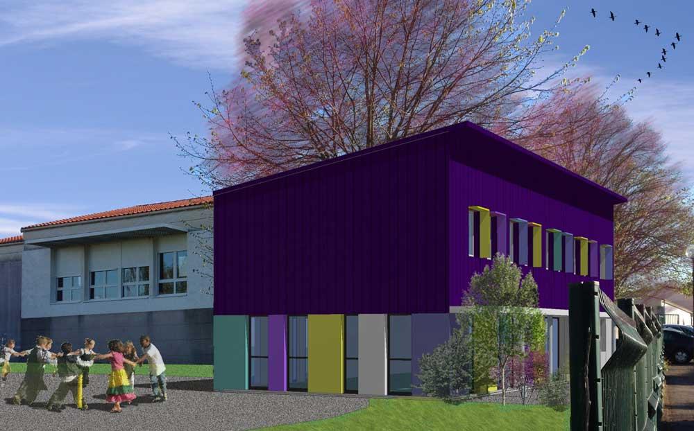 """extension de l'école """"le pré aux oiseaux"""" à la Mothe Achard (85) : une réalisation de Muriel Bernard, architecte DPLG. 2016"""