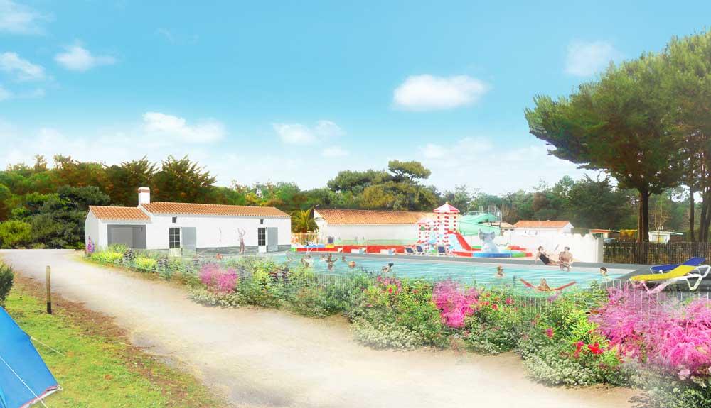 construction d'un bâtiment sanitaire - Le Bois-plage-en-Ré : une réalisation de Muriel Bernard, architecte DPLG. 2015